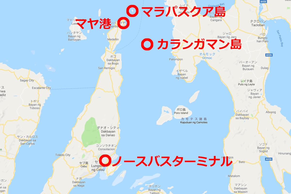 セブ島とカランガマン島の位置関係